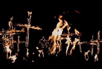Burning crosses, Lewes Bonfire Parade, Sussex