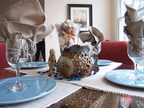 staged coastal dining room