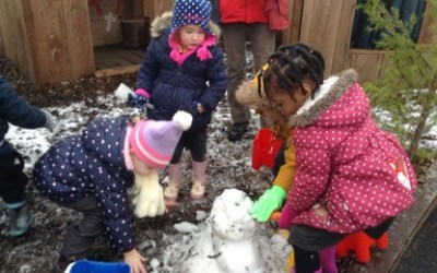 Nursery having fun in the snow