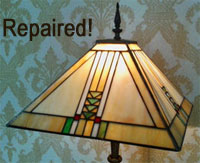 Repaired stained glass shade