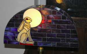 Hare and the Moon stained glass