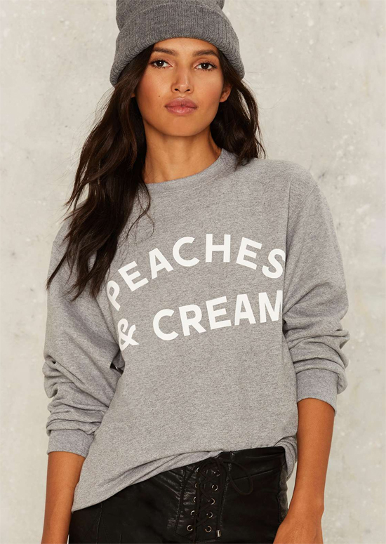 stylish graphic sweatshirt peaches and cream