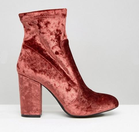 public desire pink velvet ankle boots