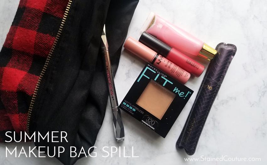 summer 2017 makeup bag spill