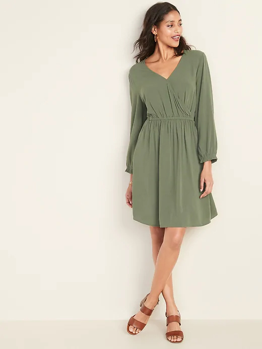 Old Navy Olive Crepe Dress