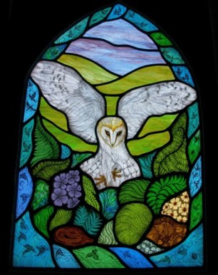 Easton Owl stained glass panel
