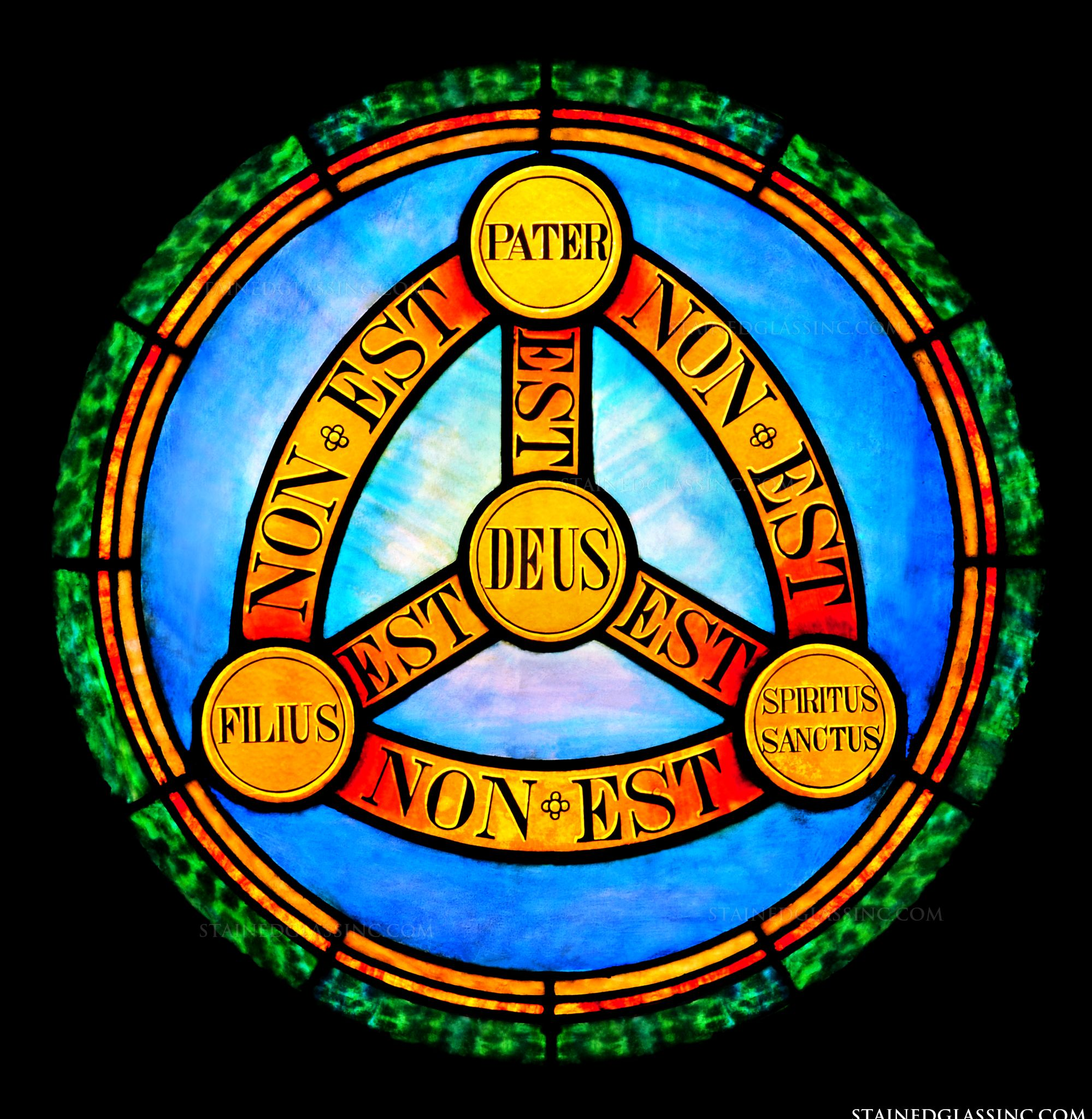 Holy Trinity Symbol Religious Stained Glass Window