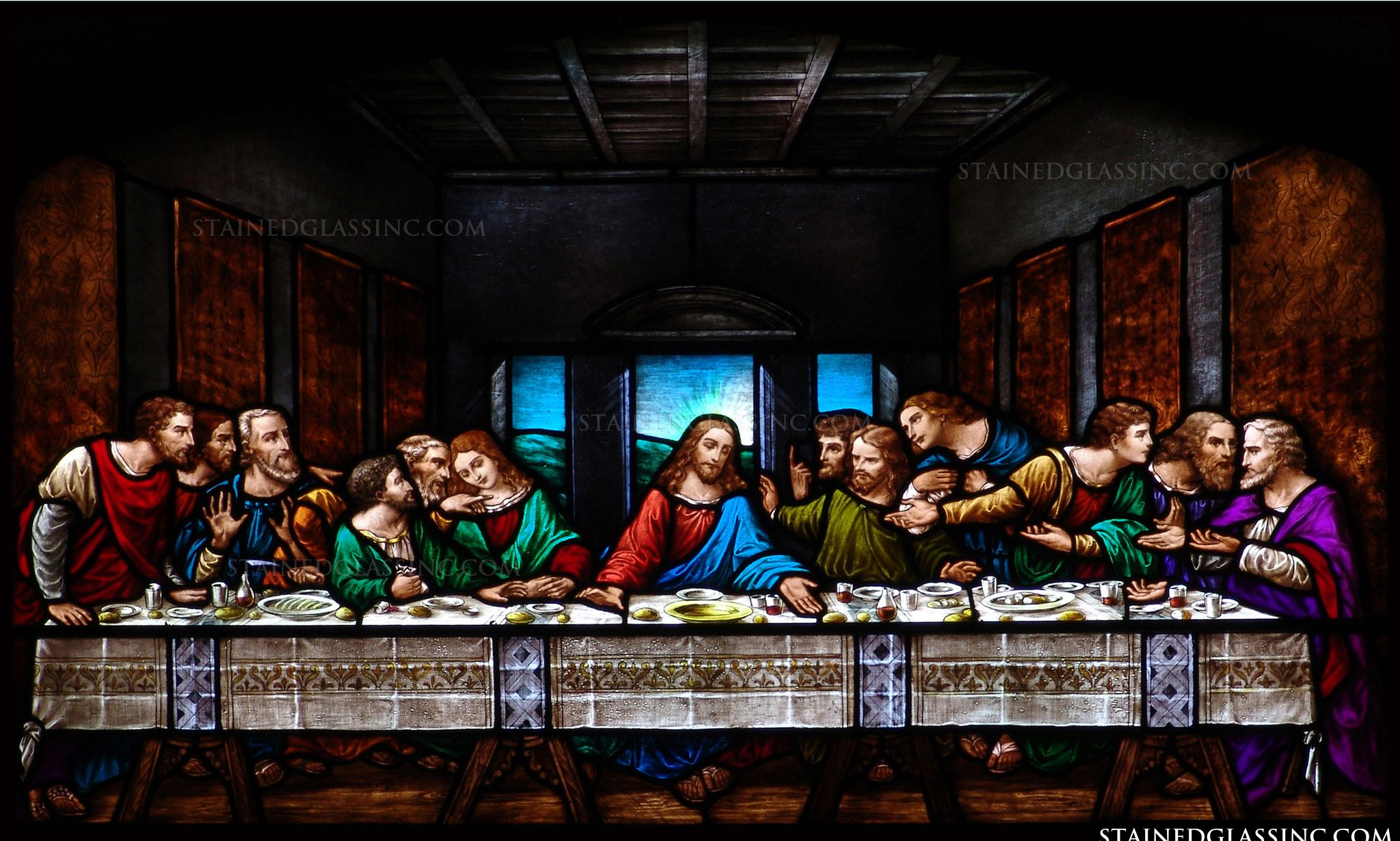 The Last Supper Religious Stained Glass Window
