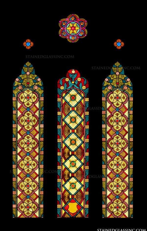 """""""geometric Stained Glass"""" Glass Window"""
