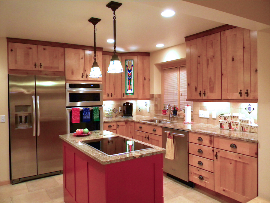 reinvented southwestern style kitchen | stained glass