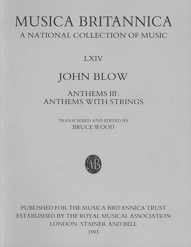 Blow, John: Anthems III: Anthems With Strings
