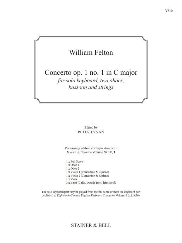 Felton, William: Concerto Op. 1 No. 1 In C Major. Score And Parts