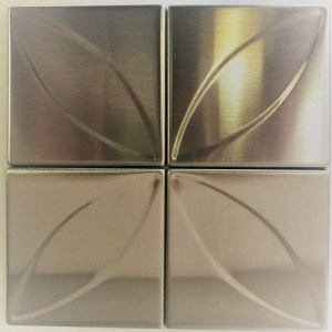 "4"" x 4"" Accent Leaf 3D Stainless Steel Tiles"