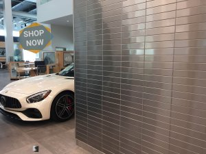 Stainless Steel Tile accent wall in showroom