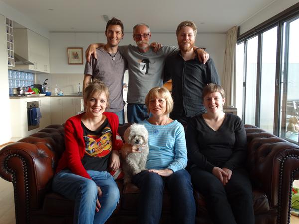 Hayden, Bruce, Evan Andrea, Sally (the dog), Thea, Steph