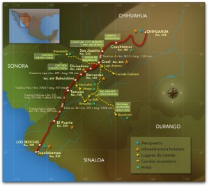 Map of Copper Canyon route (www.chepe.com.mx)