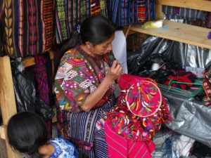 Embroidery. Market day in Chichicastenango, Guatemala