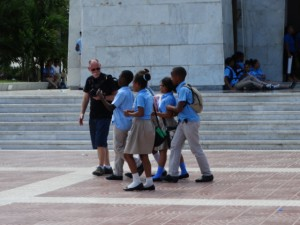 School children loved to have their photos taken at the Parque Independencia, Santo Domingo, Dominican Republic
