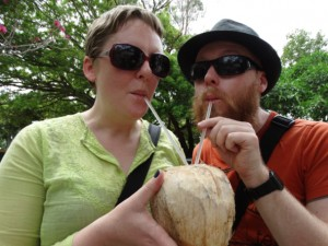 Ev & Steph enjoy coconut juice in San Francisco, Mexico