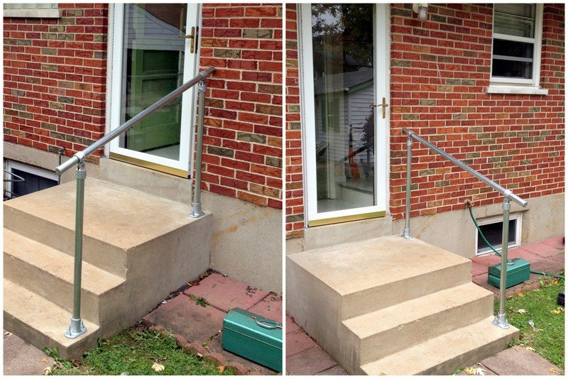 Exterior Stair Railing – Staircase Design | Disabled Handrails For Outside Steps | Elderly | Full Width | 2 Step | Outdoor | Industrial Pipe