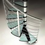 Internal glass spiral staircase