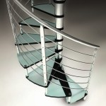 Internal glass spiral staircase