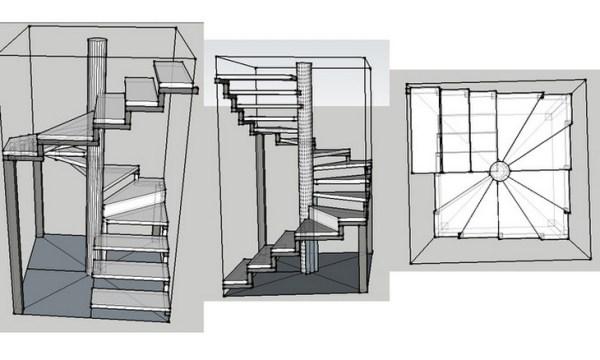Varieties of models of spiral staircases