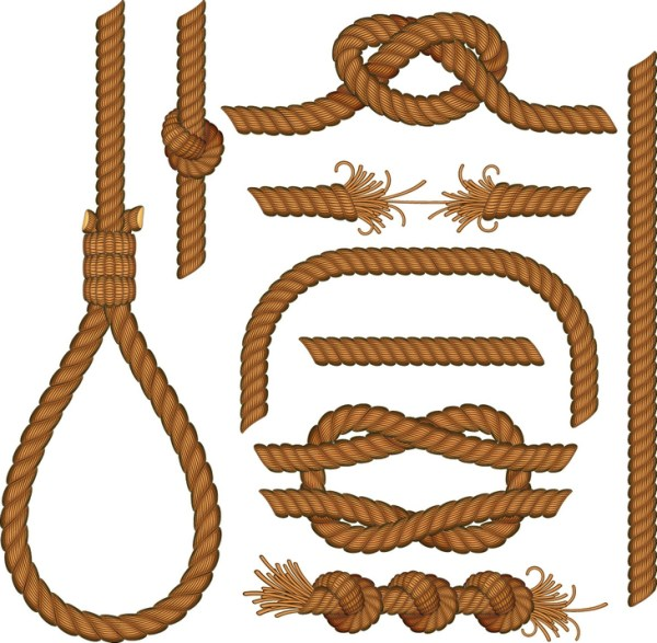 Different types of knots from the rope