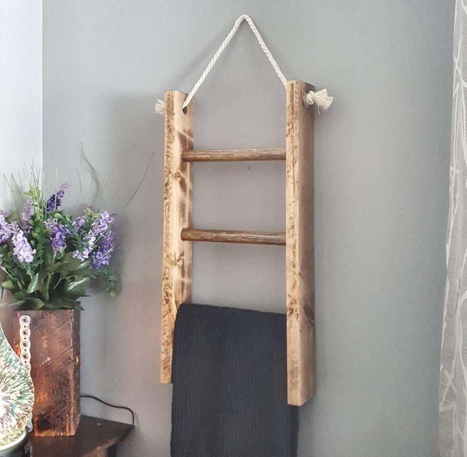 wooden ladder towel rack