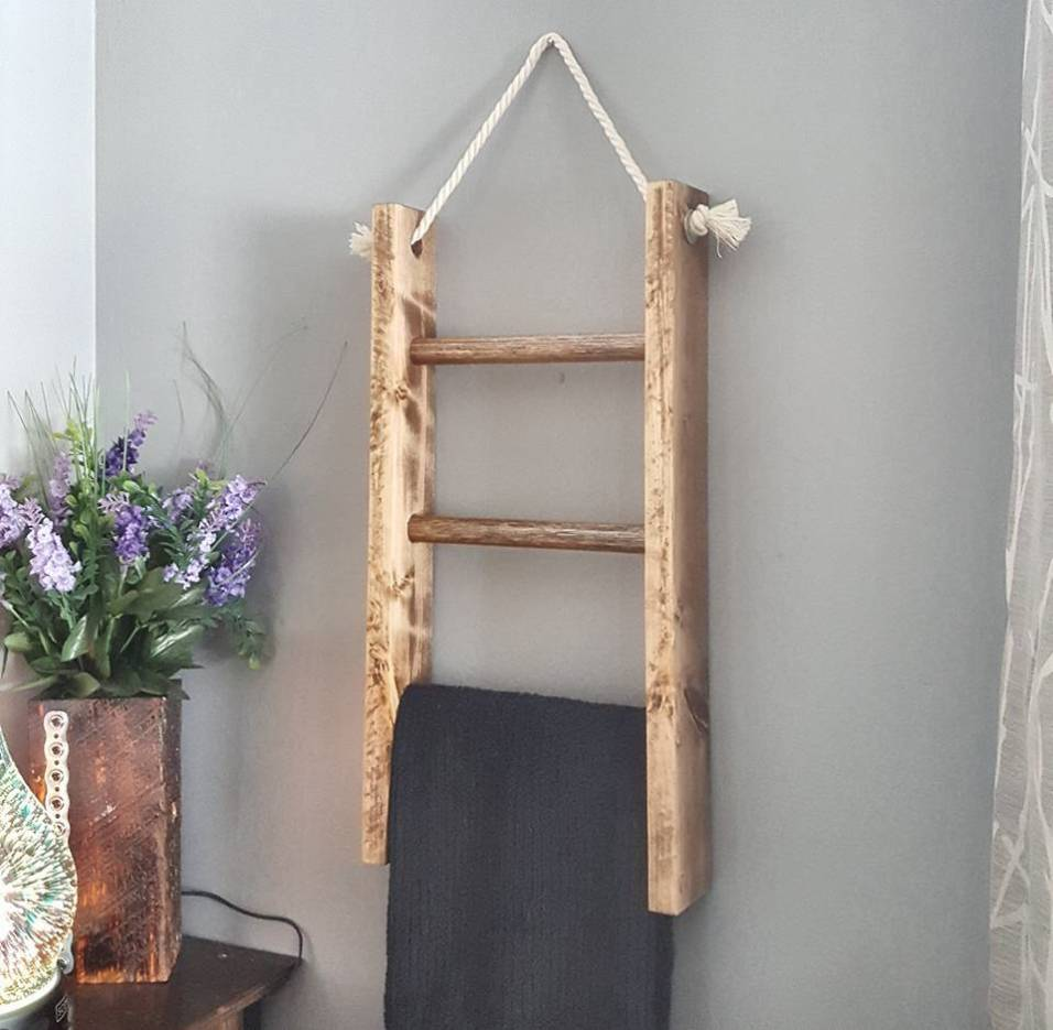 wooden ladder towel rack