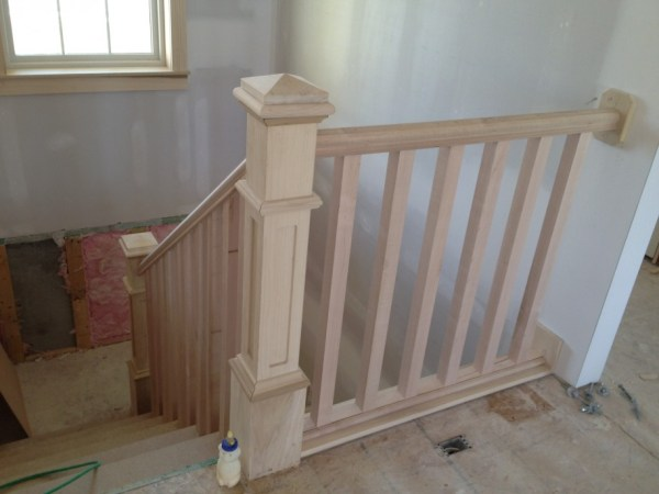 natural wood stair railings