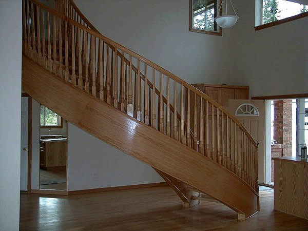 stair railing in wood