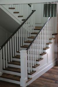 white wood stair railing  Staircase design