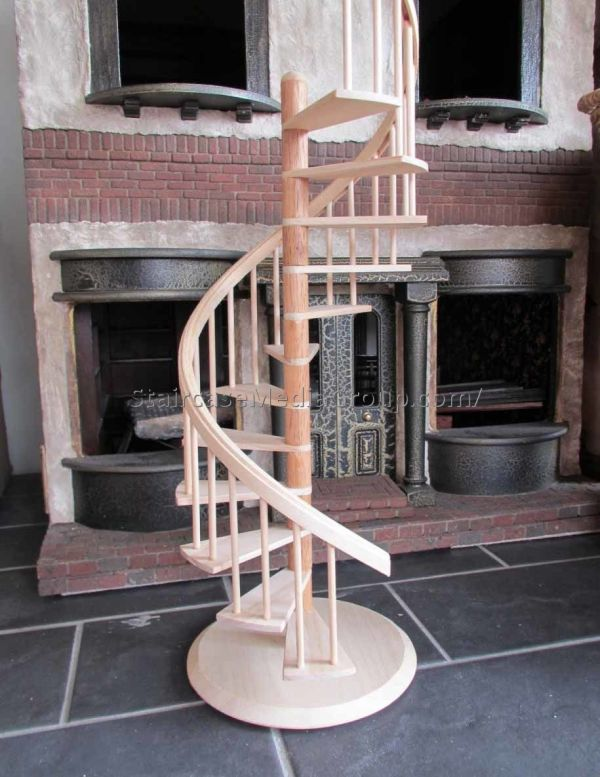 wooden winding staircase