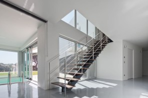 metal stairs in the modern interior