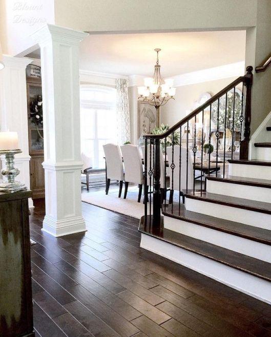 dark hand scraped floors white wood stairs ideas_91