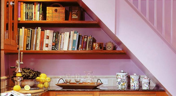 Shelf under the staircase
