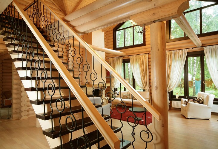Perfect staircase for the wooden house