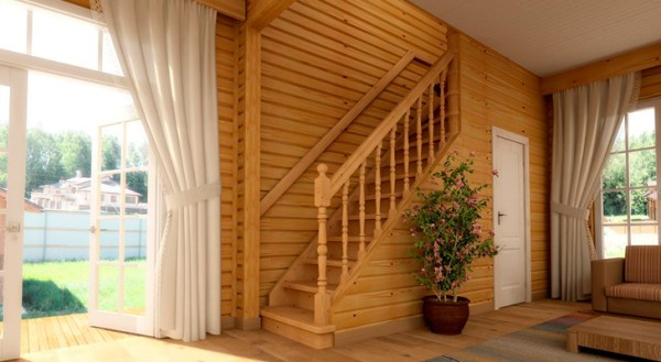 the staircase in the living room