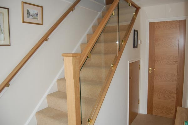 Staircase Renovations Scotland – American White Oak With Glass | Oak Handrail For Glass | Cottage Style | Glass Railing | Red Oak | Landing | Stair Railing