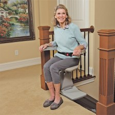 Bruno Elan straight stair lift conveniently swivels at the top of the stairs