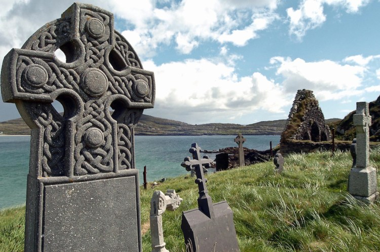 Gravestones in Derrynane Abbey