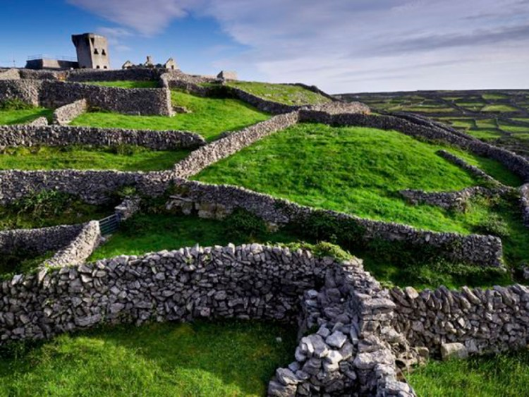 Castle O'Brian and ancient stone walls on the island of Inisheer.