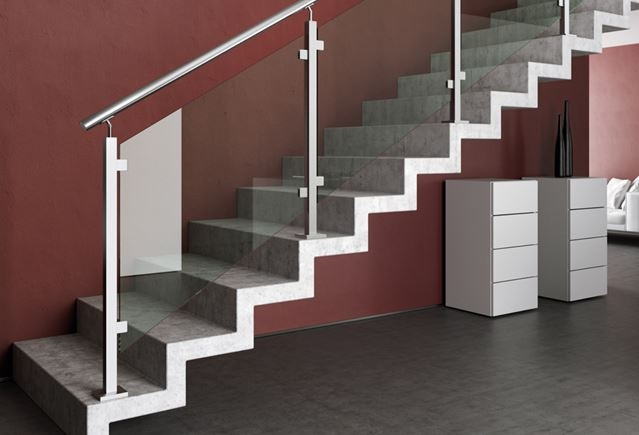 Homepage Stair Solution | Glass And Chrome Staircase | Contemporary | White Post | Single Spine | Lights | Stainless Steel