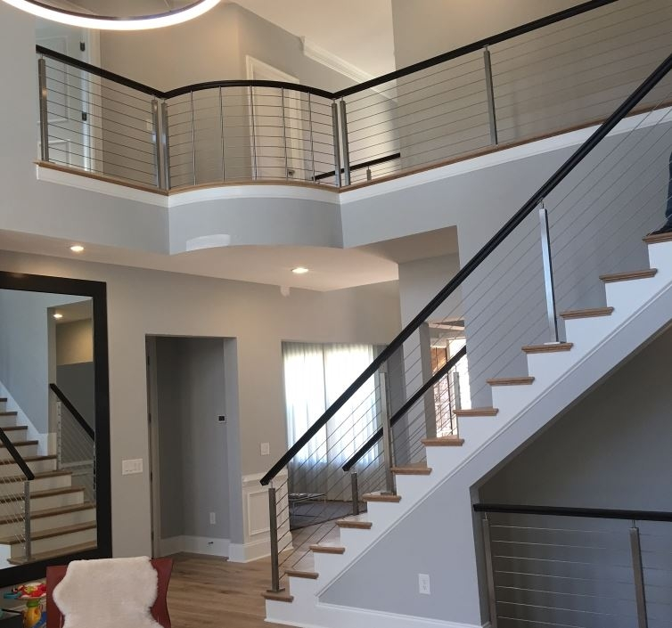 Modern Railing Systems In Wood Cable Wire Stainless Steel Glass | Modern Cable Stair Railing | Stainless Steel Stair | Railing Systems | Glass Railing | Entry Foyer | Staircase Remodel