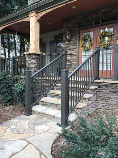 Homepage Stair Solution | Metal Railing For Steps Outside | Front Porch | Deck Stair | Aluminum | Deck Railing | Staircase