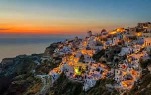 Twilight in Oia village in Santorini island Greece
