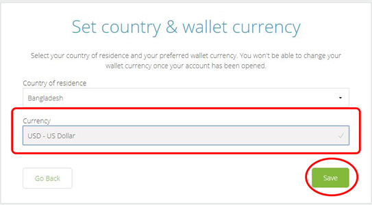 Neteller: Select your currency & Select wallet currency