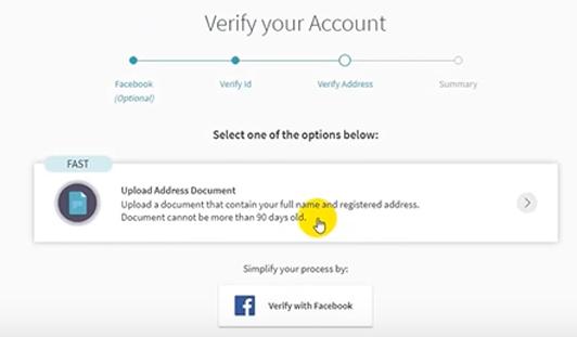 Click on Upload Address Document