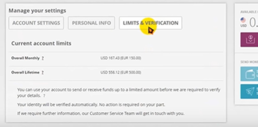 Click on the Limit & Verification tab